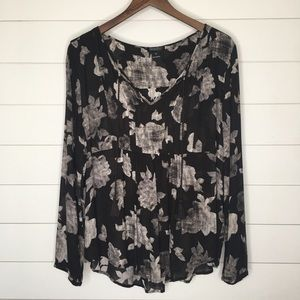 🌵Lucky Brand Black and Gray Shear Blouse Sz XL